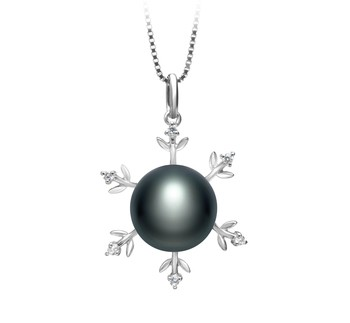 Besty Black 12-13mm AA Quality Freshwater 925 Sterling Silver Cultured Pearl Pendant
