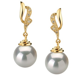 Bianka White 10-11mm AAA Quality South Sea 14K Yellow Gold Cultured Pearl Earring Pair