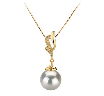 Bianka White 10-11mm AAA Quality South Sea 14K Yellow Gold Cultured Pearl Pendant