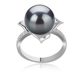 Billy Black 10-11mm AAA Quality Tahitian 925 Sterling Silver Cultured Pearl Ring