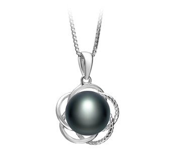 Bobbie Black 9-10mm AA Quality Freshwater 925 Sterling Silver Cultured Pearl Pendant