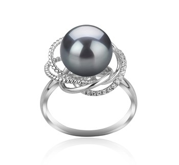 Bobbie Black 9-10mm AAA Quality Tahitian 925 Sterling Silver Cultured Pearl Ring