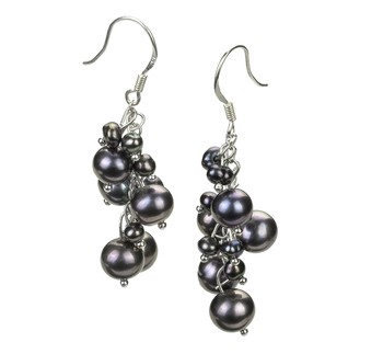 Brisa Black 3-7mm A Quality Freshwater Alloy Cultured Pearl Earring Pair