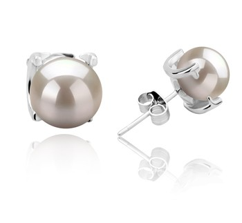 Britt White 7-8mm AAAA Quality Freshwater 925 Sterling Silver Cultured Pearl Earring Pair