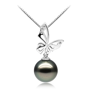 Butterfly Black 11-12mm AAA Quality Tahitian 14K White Gold Cultured Pearl Pendant