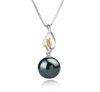 Caresse Black 11-12mm AAA Quality Tahitian 925 Sterling Silver Cultured Pearl Pendant