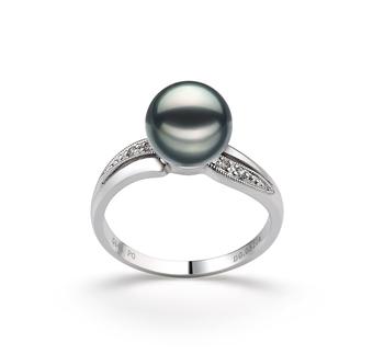 Caroline Black 7-8mm AAA Quality Japanese Akoya 14K White Gold Cultured Pearl Ring