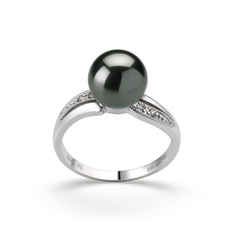 Caroline Black 8-9mm AAA Quality Tahitian 14K White Gold Cultured Pearl Ring