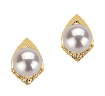 Catrina White 7-8mm AAA Quality Japanese Akoya 14K Yellow Gold Cultured Pearl Earring Pair