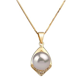 Catrina White 7-8mm AAA Quality Japanese Akoya 14K Yellow Gold Cultured Pearl Pendant
