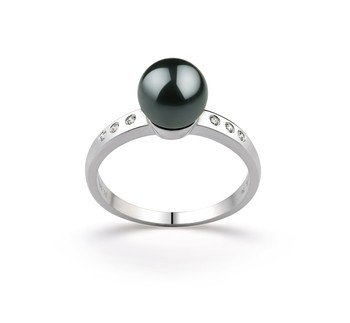 Cecelia Black 7.5-8mm AAA Quality Japanese Akoya 14K White Gold Cultured Pearl Ring