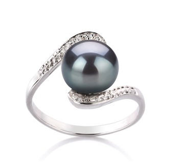 Chantel Black 9-10mm AA Quality Freshwater 925 Sterling Silver Cultured Pearl Ring