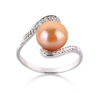 Chantel Pink 9-10mm AA Quality Freshwater 925 Sterling Silver Cultured Pearl Ring