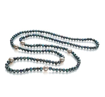Chloe Black and White 6-11mm A Quality Freshwater Cultured Pearl Necklace