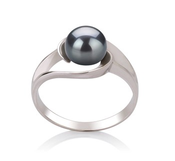 Clare Black 6-7mm AAA Quality Freshwater 925 Sterling Silver Cultured Pearl Ring