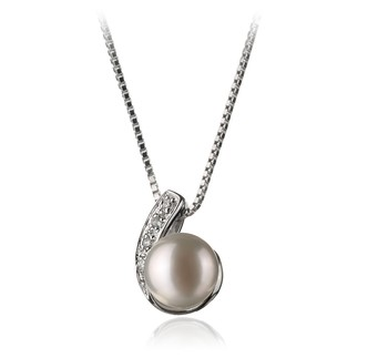 Claudia White 7-8mm AA Quality Freshwater 925 Sterling Silver Cultured Pearl Pendant