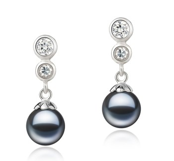 Colleen Black 7-8mm AAAA Quality Freshwater 925 Sterling Silver Cultured Pearl Earring Pair