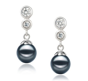 Colleen Black 7-8mm AA Quality Japanese Akoya 925 Sterling Silver Cultured Pearl Earring Pair