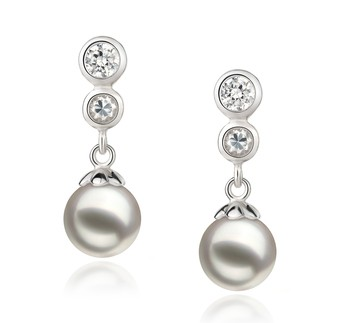 Colleen White 7-8mm AA Quality Japanese Akoya 925 Sterling Silver Cultured Pearl Earring Pair