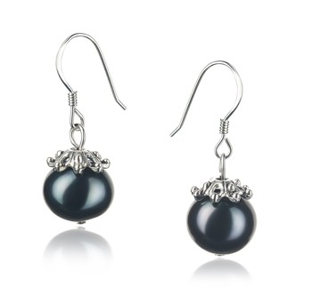 Connor Black 8-9mm A Quality Freshwater 925 Sterling Silver Cultured Pearl Earring Pair