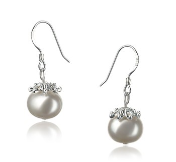 Connor White 8-9mm A Quality Freshwater 925 Sterling Silver Cultured Pearl Earring Pair