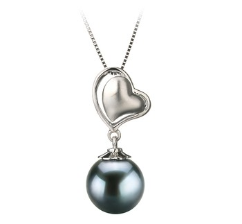 Cora Black 8-9mm AA Quality Japanese Akoya 14K White Gold Cultured Pearl Pendant