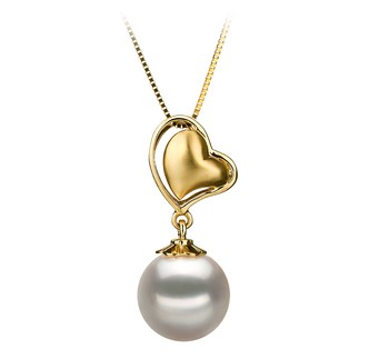 Cora White 8-9mm AA Quality Japanese Akoya 14K Yellow Gold Cultured Pearl Pendant