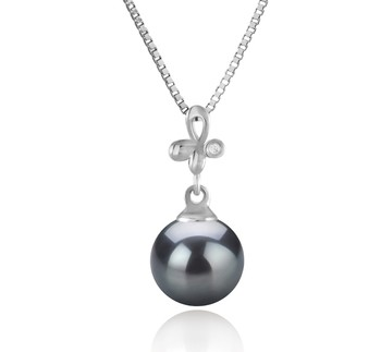 Coralie Black 7-8mm AA Quality Japanese Akoya 925 Sterling Silver Cultured Pearl Pendant
