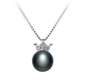 Crown Black 8-9mm AAA Quality Freshwater 925 Sterling Silver Cultured Pearl Pendant