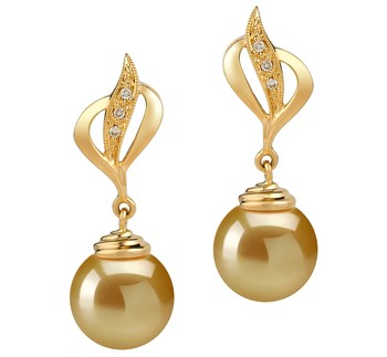 Damica Gold 10-11mm AAA Quality South Sea 14K Yellow Gold Cultured Pearl Earring Pair
