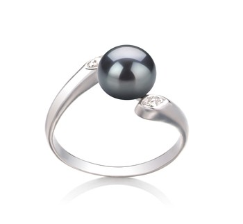 Dana Black 6-7mm AAA Quality Freshwater 925 Sterling Silver Cultured Pearl Ring