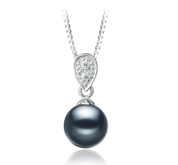 Daria Black 7-8mm AAAA Quality Freshwater 925 Sterling Silver Cultured Pearl Pendant
