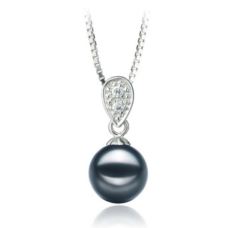 Daria Black 7-8mm AA Quality Japanese Akoya 925 Sterling Silver Cultured Pearl Pendant