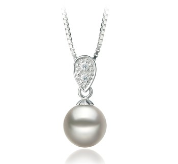 Daria White 7-8mm AA Quality Japanese Akoya 925 Sterling Silver Cultured Pearl Pendant