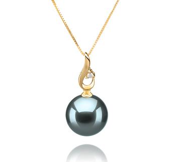 Darlene Black 10-11mm AAA Quality Tahitian 14K Yellow Gold Cultured Pearl Pendant