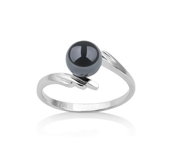 Daron Black 6-7mm AAA Quality Japanese Akoya 14K White Gold Cultured Pearl Ring