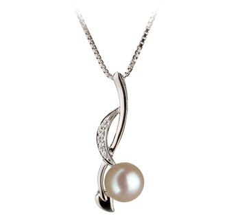 Diana White 6-7mm AA Quality Japanese Akoya 925 Sterling Silver Cultured Pearl Pendant