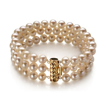Dianna White 6-7mm Tripple Strand AA Quality Freshwater Cultured Pearl Bracelet