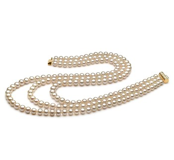 Dianna White 6-7mm Tripple Strand AA Quality Freshwater Cultured Pearl Necklace