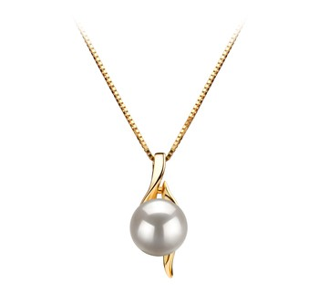 Dinah White 6-7mm AAA Quality Japanese Akoya 14K Yellow Gold Cultured Pearl Pendant