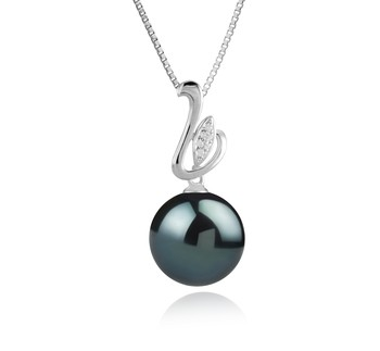 Dixie Black 12-13mm AAA Quality Tahitian 925 Sterling Silver Cultured Pearl Pendant