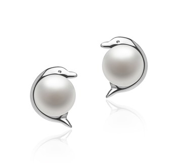 Dolphin White 5-6mm AAA Quality Freshwater 925 Sterling Silver Cultured Pearl Earring Pair