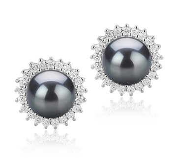 Dreama Black 7-8mm AAAA Quality Freshwater 925 Sterling Silver Cultured Pearl Earring Pair