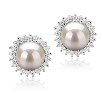 Dreama White 7-8mm AAAA Quality Freshwater 925 Sterling Silver Cultured Pearl Earring Pair