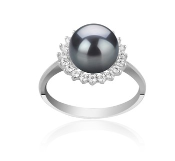 Dreama Black 8-9mm AAAA Quality Freshwater 925 Sterling Silver Cultured Pearl Ring