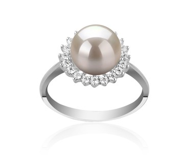 Dreama White 8-9mm AAAA Quality Freshwater 925 Sterling Silver Cultured Pearl Ring