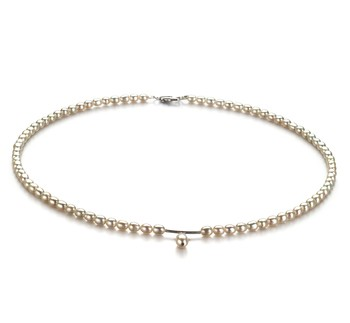 Drop White 3-4mm A Quality Freshwater Cultured Pearl Necklace