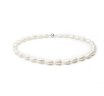 Drop White 10-11mm Single Strand Baroque Quality Freshwater 925 Sterling Silver Cultured Pearl Necklace