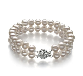 Eda White 6-7mm Double Strand A Quality Freshwater Cultured Pearl Bracelet