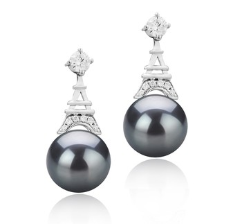 Eiffer-Tower Black 8-9mm AAAA Quality Freshwater 925 Sterling Silver Cultured Pearl Earring Pair